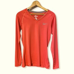 Nike pro dri fit fitted long sleeve top red M